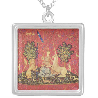 The Unicorn and Maiden Medieval Tapestry Image Square Pendant Necklace