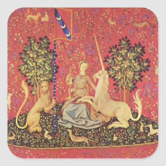 The Unicorn and Maiden Medieval Tapestry Image Square Sticker