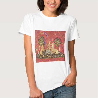 The Unicorn and Maiden Medieval Tapestry Image T Shirt
