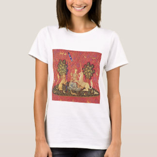 The Unicorn and Maiden Medieval Tapestry Image T-Shirt