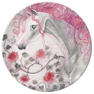 The Unicorn And The Roses Porcelain Plates