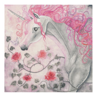 The Unicorn And The Roses Panel Wall Art