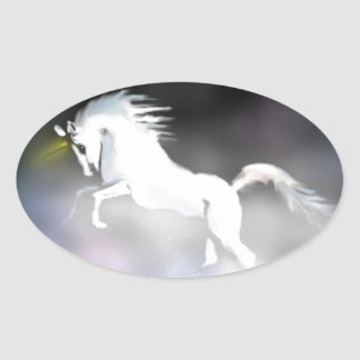 The Unicorn in the Mist Oval Sticker