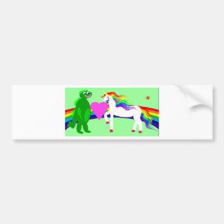 The Unicorn sees the Dinosaur Bumper Sticker