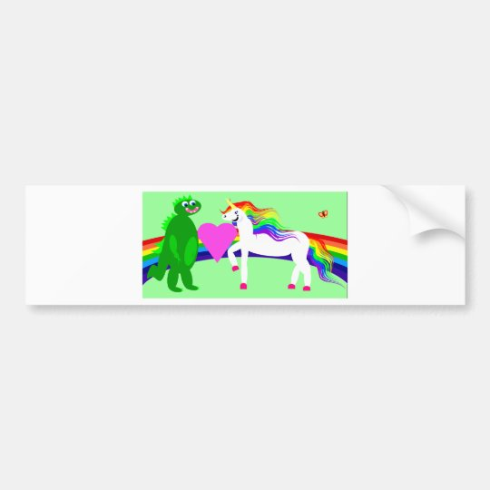 The Unicorn sees the Dinosaur Bumper Sticker
