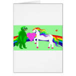 The Unicorn sees the Dinosaur Greeting Cards