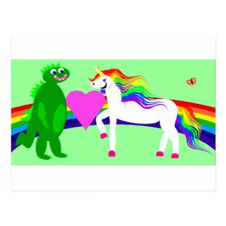 The Unicorn sees the Dinosaur Postcard