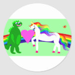 The Unicorn sees the Dinosaur Classic Round Sticker