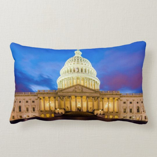 The United States Capitol at blue hour Lumbar Pillow