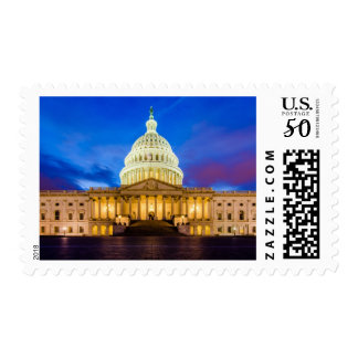 The United States Capitol at blue hour Postage