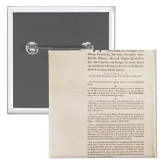 The United States Constitution, 1787 2 Inch Square Button