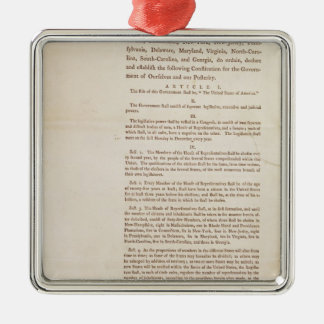 The United States Constitution, 1787 Square Metal Christmas Ornament