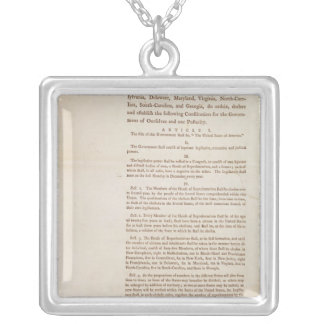 The United States Constitution, 1787 Silver Plated Necklace