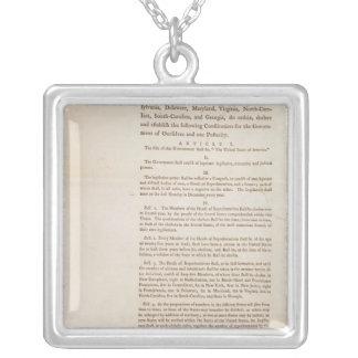 The United States Constitution, 1787 Square Pendant Necklace