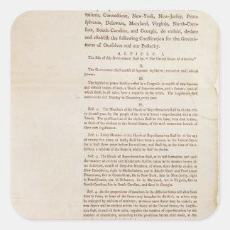 The United States Constitution, 1787 Square Sticker