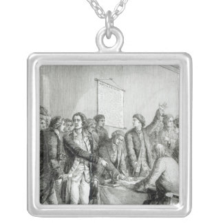 The United States Declaration of Independence Silver Plated Necklace