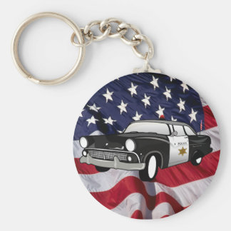 The United States of America 59 vintage Police Car Basic Round Button Keychain