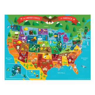 The United States of America Graphic Map Postcard