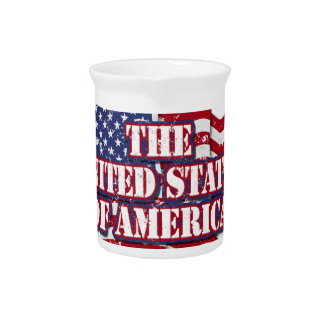 The United States of America with flag distressed Beverage Pitcher