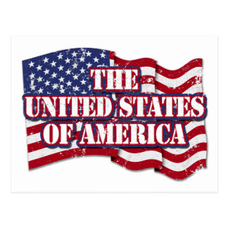 The United States of America with flag distressed Postcard