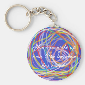 The universe has ended basic round button keychain