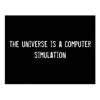 the universe is a computer simulation postcard