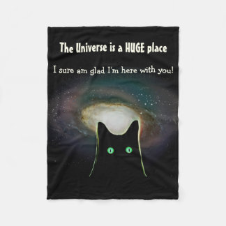The Universe is a HUGE Place ~ Black Cat Throw Fleece Blanket