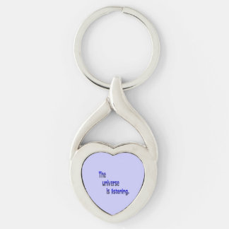 The Universe is Listening - blue background Keychain