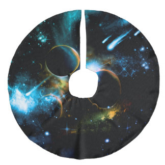 The universe of planets faux linen tree skirt