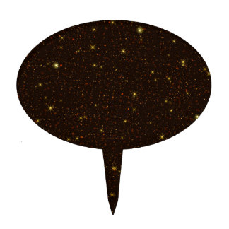 The Universe with Gold and Brown Stars Cake Topper