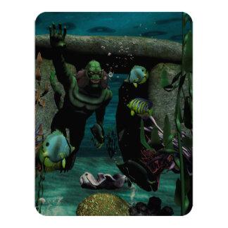 The unknown creature of the sea 4.25x5.5 paper invitation card
