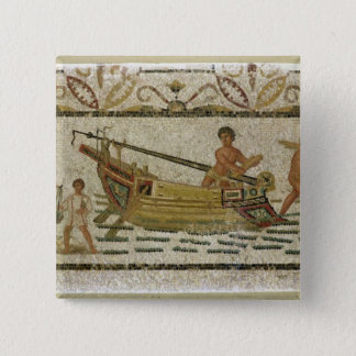 The unloading of a ship pinback button