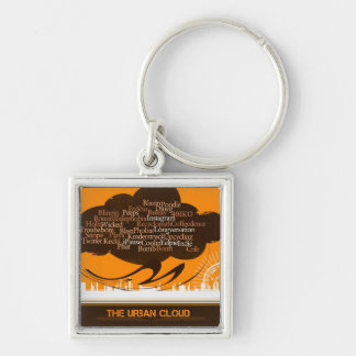 The Urban Cloud Silver-Colored Square Keychain