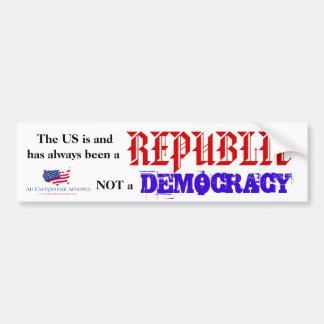 The US is a Republic Bumper sticker Car Bumper Sticker