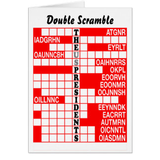 The US Presidents Word Scramble Card