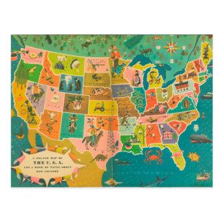 The USA Children's Book Map Postcard
