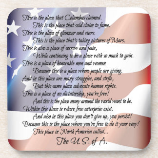 The USA Flag Poetry Art Poster Drink Coaster