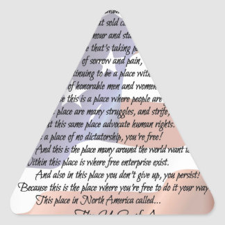 The USA Flag Poetry Art Poster Triangle Sticker