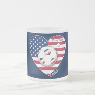 The USA National Soccer Team Soccer of the United  Frosted Glass Coffee Mug