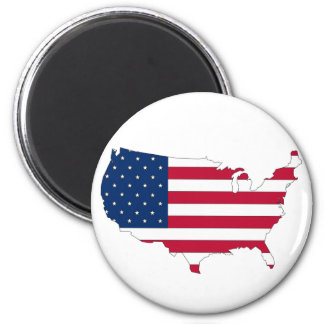 The USA outline map filled with flag 2 Inch Round Magnet