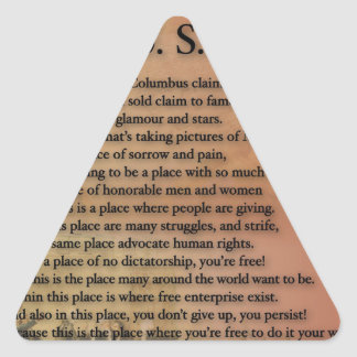 The USA Presidents Poetry Art Gifts Triangle Sticker
