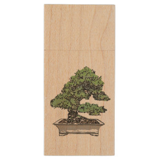 The USB memory where five leaf pine bonsai are