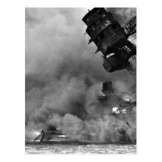 The USS ARIZONA burning after the_War Image Postcard