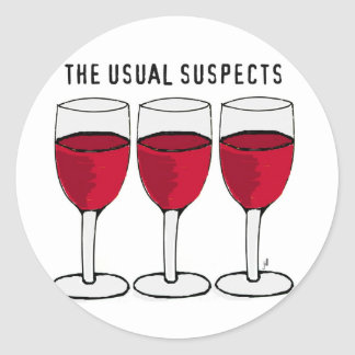 THE USUAL SUSPECTS WINE TRIO PRINT CLASSIC ROUND STICKER