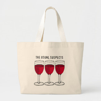 THE USUAL SUSPECTS WINE TRIO PRINT LARGE TOTE BAG