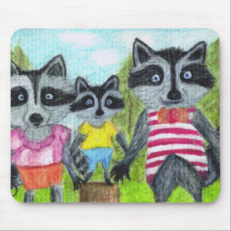 The Vacationeers Family of Racoons Mousepad