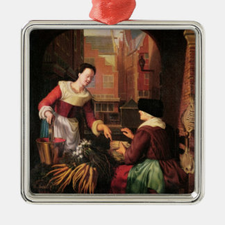 The Vegetable Seller Square Metal Christmas Ornament