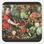 The Vegetable Seller Square Sticker