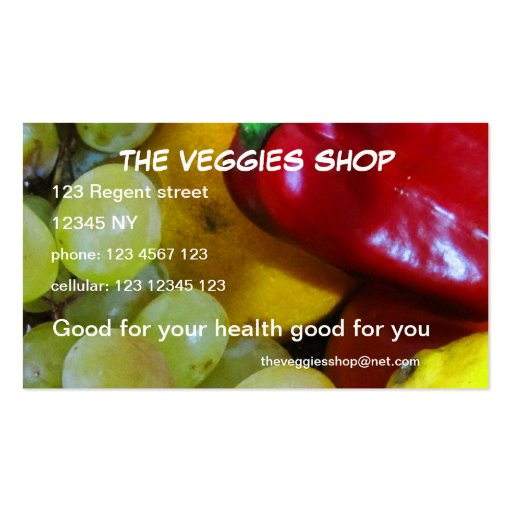 The Veggies Shop Business Card