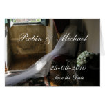 The veil and the  bouquet -customized greeting card